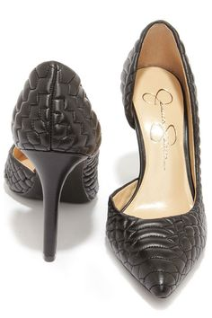 8db16e48df12 Jessica Simpson Caldas Black Leather Quilted D Orsay Pumps