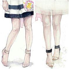 """좋아요 216개, 댓글 16개 - Instagram의 Sketches by Anna Pino Ravelli(@pinodesk)님: """"Ankle strap sandals...so cool #anklestrapsandals #ootd #heels #fashionblogger"""""""