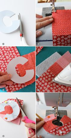 This DIY Fabric Initial Ornament is a great way to personalize your tree. Plus, handmade ornaments make perfect gifts! This is a great way to use up those old fabric scraps into something useful and creative. Letter Ornaments, Fabric Christmas Ornaments, Christmas Sewing, Handmade Ornaments, How To Make Ornaments, Christmas Diy, Christmas Houses, Diy And Crafts Sewing, Easy Sewing Projects