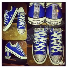 These cuties would make a great gift for any young lady. Available in all women sizes . Royal blue Converse are a little more expensive but will be worth it. Royal Blue Converse, Bling Converse, Bling Shoes, White Converse, Prom Shoes, Converse All Star, Converse Shoes, Wedding Shoes, Painted Converse