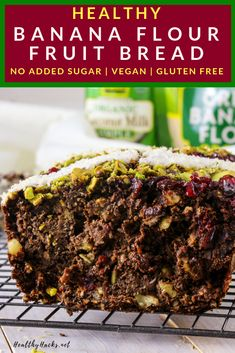This easy and healthy banana flour fruit bread is perfect for the holidays, but so delicious you'll want to eat it all year long! Healthy Fruit Desserts, Banana Dessert Recipes, Healthy Snacks For Kids, Healthy Breakfast Recipes, Paleo, Healthy Gluten Free Recipes, Healthy Tips, Diet Recipes, Nutritious Meals