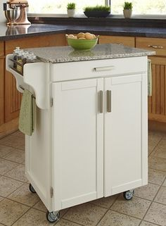 Cuisine Cart White Finish SP Granite Top, 9001-0023 by Home Styles by Home Styles | BizChair.com