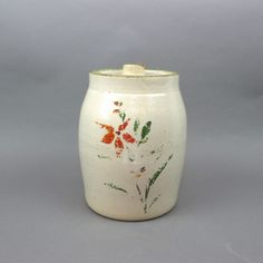 Rustic Stoneware Covered Cookie Jar, Vintage Robinson Ransbottom Pottery, Painted Flowers on Front, Primitive Farmhouse Decor