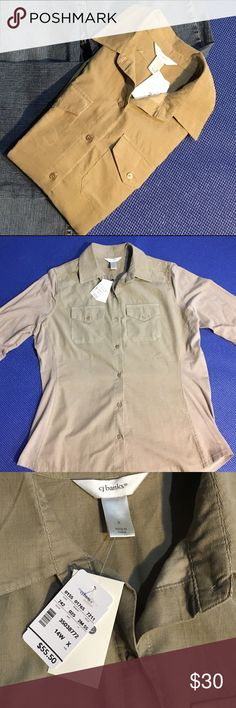 Corduroy Button Down Armpit to bottom of sleeve measures approximately 20 inches. Armpit to bottom hem measures approximately 18 inches. Front panel is corduroy 100% cotton back panel and sleeves are net 96% cotton, 4% spandex. CJ Banks Tops Button Down Shirts