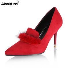 AicciAizzi Size 31-48 Ladies Thin High Heel Shoes Women Pointed Toe Scrub High Heeled Pumps Female Elegant Wedding Footwears #Affiliate