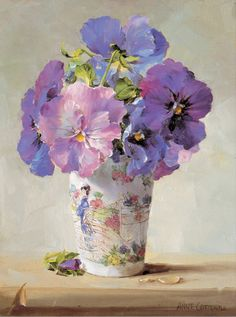 Detailed image of our Blue Pansies Card by Anne Cotterill