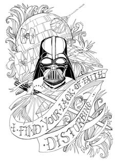 """I find your lack of faith disturbing.""  Star Wars, Darth Vader Quote 8"" x 10"" Black and White Ink Print  #StarWars #DarthVader #LemonWatercolor"