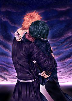 IchiRuki - Moonlight Glow by gone-phishing on DeviantArt Bleach Fanart, Bleach Manga, Bleach Characters, Anime Characters, Fanarts Anime, Manga Anime, Ichigo Y Orihime, Line Sketch, Couple