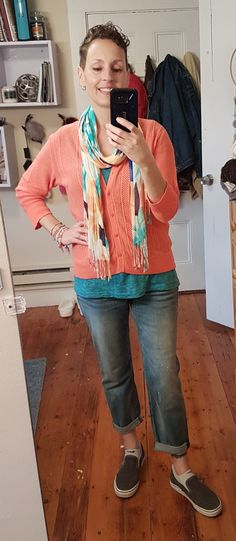 I need spring so badly I had to break out the spring scarves with my Stitch Fix boyfriend jeans