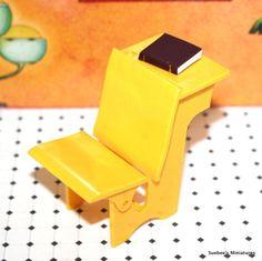 "Renwal Classic Bright Yellow School Desk Vintage Dollhouse Furniture 3 4"" | eBay"