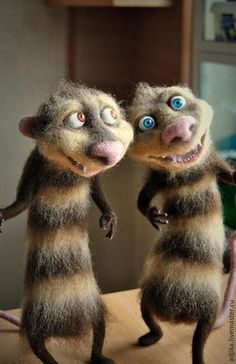 "Animal toys, handmade.  Fair Masters - handmade.  Buy Possums Crash and Eddie, ""Ice Age.""  Handmade.  Brown"