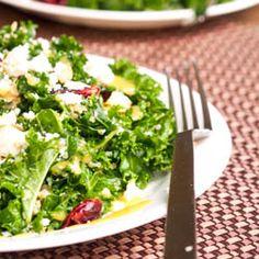 Massaged Kale Salad with Cranberries, Quinoa, Macadamia Nuts and Feta {Gluten-Free, Vegetarian}