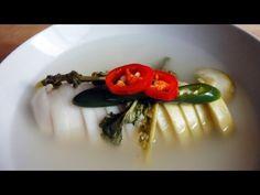 Dongchimi (radish water kimchi 동치미) recipe - Maangchi.com garlic, ginger, green chili pepper, green onion, Korean pear, Korean radish, onion, salt, water
