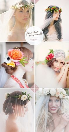 wedding hairstyle with flowers and veils