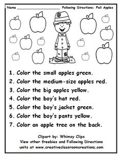great practice in following directions and using color words others available at pinterstcom - Halloween Following Directions