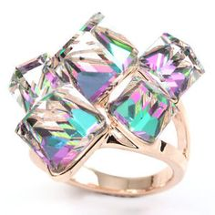 iv696-rose-gold-GP-multi-colored-green-swarovski-crystal-cocktail-ring