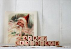 vintage letter cube words HAPPY CHRISTMAS by hilltopcottage