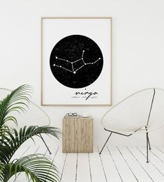 Zodiac Virgo constellation prints are perfect for any star gazer. If you are looking for an astrology print for the Virgo in your life, this zodiac print is just what youre looking for. Celestial decor is always in style.  Minimalist wall art sets a sophisticated mood in any room.  Simple lines and Wall Art Sets, Large Wall Art, Wall Art Prints, Room Posters, Poster Wall, Virgo Constellation, White Wall Decor, Scandinavian Art, Virgo Zodiac