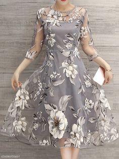 Floral Printed See-Through Midi Skater Dress e28529b3903e
