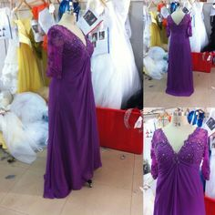 Plus Size Mother Of The Groom Dresses Lace Purple Floor Length 3 4 Sleeve Sequin Details Chffion V Neckline  $130.00