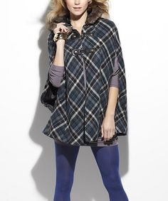 Another great find on #zulily! Blue Plaid Anise Wool-Blend Cape #zulilyfinds