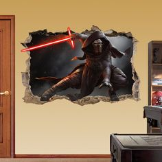 KYLO REN Star Wars Smashed Wall Sticker - 3d Bedroom Boys Girls Wall Art Decor Room Removable hero Broken wall Decal Movie Game Xbox Vinyl