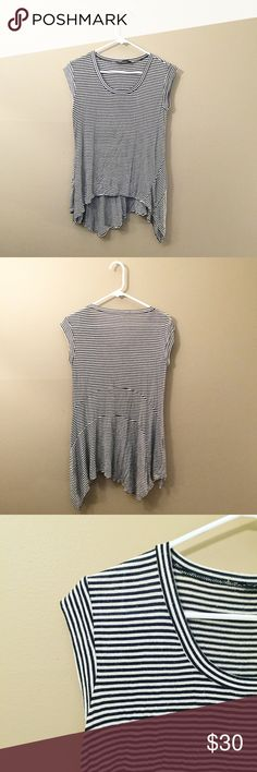 BCBGMaxAzria striped top black + white striped top from BCBGMaxAzria | very thin + soft material | long + flowy perfect for layering | the size tag is missing but it fits a size XS/S | excellent condition 🌙   • make an offer! ^_^ • BCBGMaxAzria Tops Tees - Short Sleeve