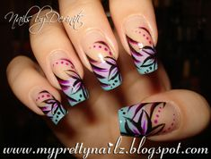My Pretty Nailz: OMBRE TIPS WITH HAND PAINTED FLOWER DESIGN NAIL ART VIDEO TUTORIAL! CHECK IT OUT!!!