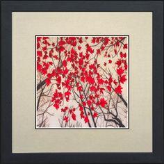 Susho, King Silk Art 100% Handmade Suzhou Silk Embroidery - Maple Canopy - White Mat, Black Frame 37196WF $47.98 (52% OFF)