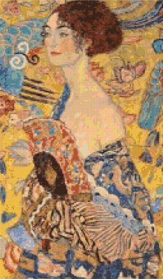 "Klimt ""Lady With a Fan"" Cross Stitch Pattern - PDF Instant Download by PenumbraCharts on Etsy"