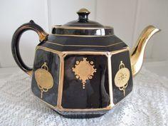 Antique Gibsons black and gold teapot, Celt teapot, Burslem England teapot…