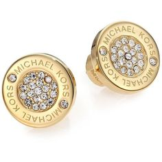 Michael Kors Heritage Plaque Pave Logo Stud Earrings/Goldtone ($78) ❤ liked on Polyvore featuring jewelry, earrings, apparel & accessories, gold, stud earrings, rhinestone earrings, logo jewelry, rhinestone jewelry and stud earring set