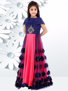 Shop Navy pink double layered gown online from India. Gowns For Girls, Frocks For Girls, Kids Frocks, Little Girl Dresses, Girls Dresses, Girls Frock Design, Kids Lehenga, Kids Gown, Indian Dresses