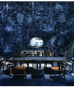 a moody indigo dining room