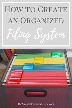 Create an Organized Filing System - The Simply Organized Home : Are you struggling to get the paper clutter under control in your home? Creating an organized filing system is the best way to tame the paper clutter once and for all! Organisation Hacks, Filing Cabinet Organization, Organizing Paperwork, Clutter Organization, Home Office Organization, Office Storage, Organizing Paper Clutter, Storage Cabinets, Organizing Documents