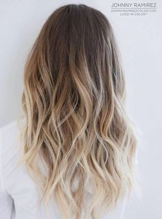 #14: Brown Blonde Balayage Ombre When you like the idea of lighter ends, but want to wrap it into the most popular today coloring approach, go for balayage ombr