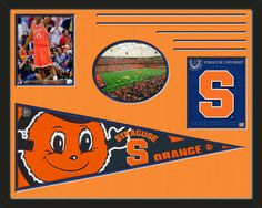 Three framed 8 x 10 inch Syracuse University photos of Syracuse Team Logo  (including one HORIZONTAL photo framed in an oval) with a large Syracuse University pennant, double matted in team colors to 28 x 22 inches.  The lines show the bottom mat color.  The oval photo will be cropped to fit.  (Pennant design subject to change)  $159.99 @ ArtandMore.com