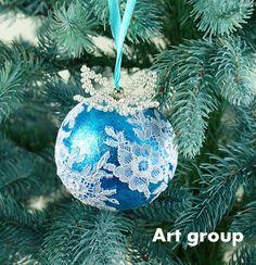 Christmas Balls Blue White Lace for Christmas by HomesterArtDecor