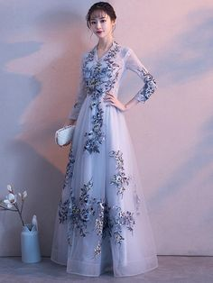 China Style Long sleeve prom dress,A-Line bridesmaid dress