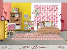Refreshing youth bedroom in tropical colors  Found in TSR Category 'Sims 4 Adult Bedroom Sets'