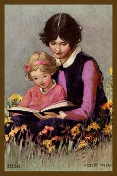 Quilt Block of 1926 painting of Mother and Daughter Reading by Jessie Willcox Smith printed on cotton. Ready to sew.  Single 4x6 block $4.95. Set of 4 blocks with pattern $17.95.