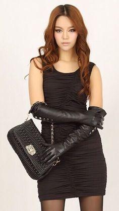 Elegant Gloves, Gloves Fashion, Black Leather Gloves, Long Gloves, Fitness Fashion, Brunettes, Corsets, Windows 10, Yoga Fitness