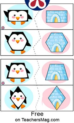 Shape activities are a stellar way to have students learn about different kinds of shapes from circles and squares to triangles and diamonds. This activity uses four A4 sheets of paper for a total of eight shapes–all that look like adorable penguins! Should you want to download the file package you do have an option to do so at no cost to you! Click here to learn how to download all 4 sheets for free! Preschool Speech Therapy, Preschool Learning Activities, Preschool Activities, Kids Learning, Shape Activities, Penguins And Polar Bears, Polar Animals, Shape Matching, Preschool Christmas
