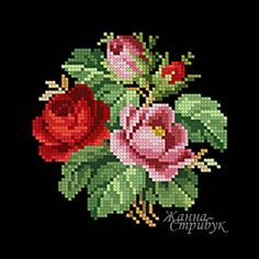 Code 181220 Bouquet A palette of 28 colors in DMC. The scheme is suitable for embroidery with beads and petit point. Size 60x60st. Price 2$