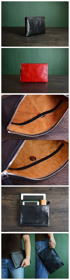 Custom Handmade Vegetable Tanned Italian Leather Clutch Envelope Bag iPad Bag Pouch Bag Diy Leather Clutch, Handmade Leather Wallet, Leather Gifts, Grey Bags, Ipad Bag, Leather Wallets, Pouch Bag, Leather Accessories, Briefcase