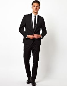 Outfit for prom: Black suit jacket White dress shirt Plain black ...