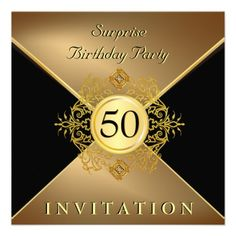 Elegant Gold Black 50th Birthday Surprise Party In Personalized Invite Invitations