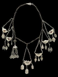 Iran | Necklace; silver toned metal, brass and glass | Possibly Turkmen people | 20th century