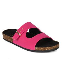 """Bumper BI41 Women Nubuck Open Toe Studded Buckle Cork Slipper Sandal - Berry (Size: 7.5). Measurement (tested sz 6; approx.): Heel: 0.75"""", Toe: 3.75"""". Sole / Padding: Synthetic non-skid sole / cushioned foot bed with padded insole. Closure: Slip On. Fit: True to size. Condition: Brand new with original or Alrisco shoe box."""