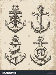 Handgezeichnete set Hand gezeichneten Anker Anker Hand drawn set of hand drawn anchor anchors Vintage Anchor Tattoo, Navy Anchor Tattoos, Anchor Compass Tattoo, Navy Tattoos, Sailor Tattoos, Pirate Anchor Tattoo, Vintage Compass Tattoo, Vintage Nautical Tattoo, Small Anchor Tattoos